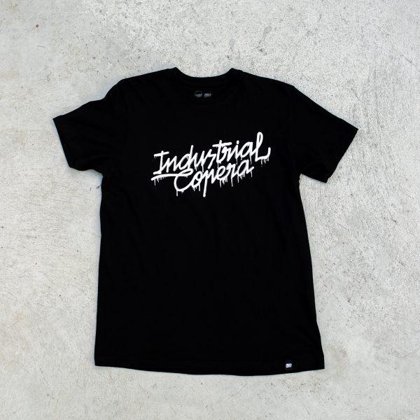 Camiseta negra Industrial Copera logo derretido