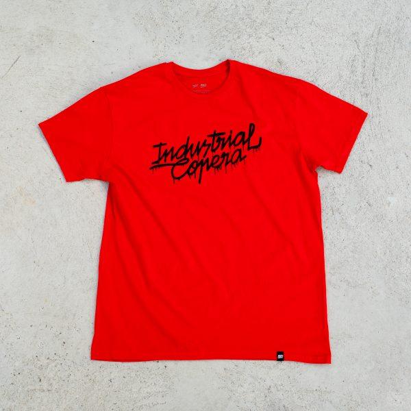 Camiseta roja Industrial Copera logo derretido